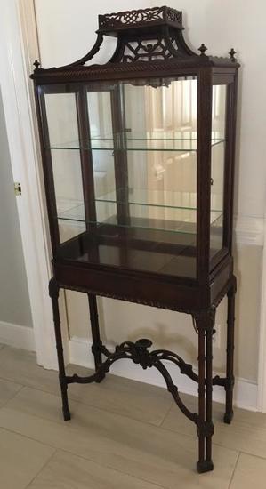 Exquisite wood & glass curio display case.
