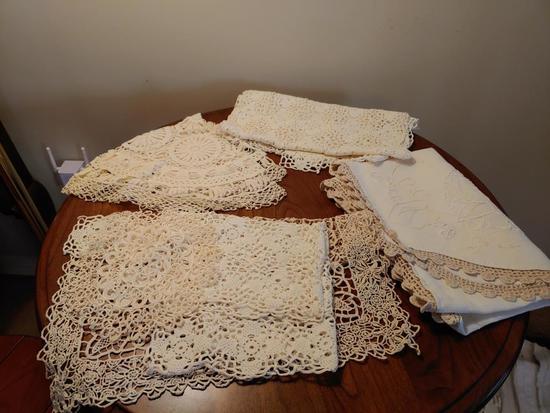 Box of linens.  Napkins, runners, cloths,