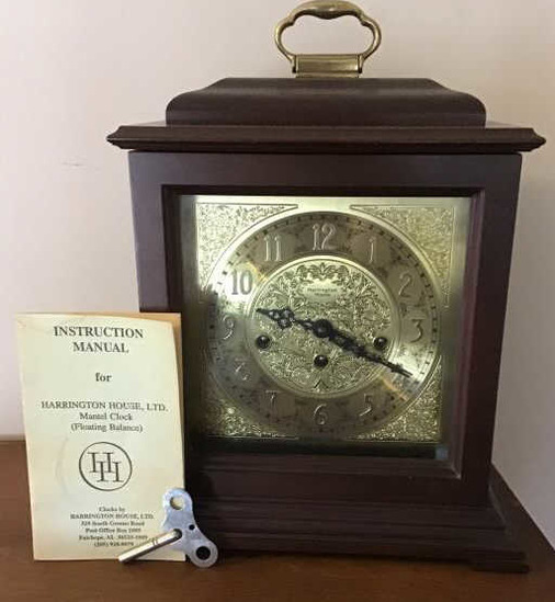 Harrington House Mantel clock w/key