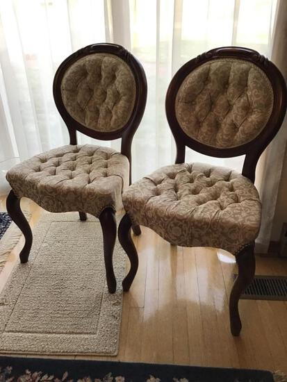 Pair Upholstered Chairs. Carved Back