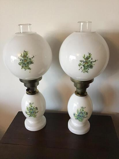 Pair Hand Painted Table Lamps. 19 Inches
