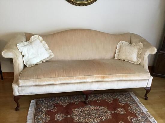 Camelback Sofa, Queen Anne Legs.