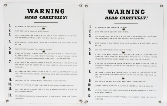 Lot of 2 Warning Read Carefully Porcelain Signs