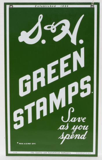 S&H Green Stamps Save As You Spend Porcelain Sign DSP