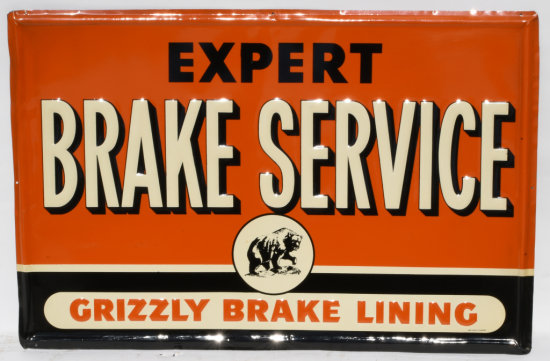 Grizzly Brake Lining Expert Brake Service Tin Sign