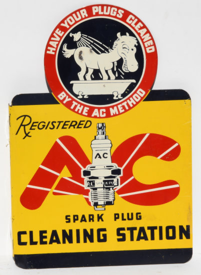 AC Spark Plug Cleaning Station Tin Flange Sign