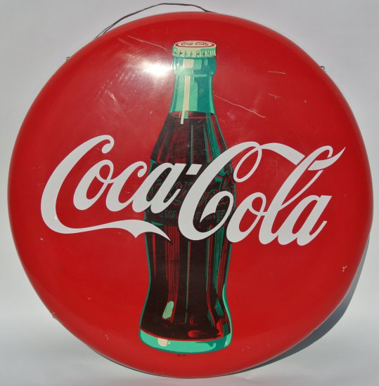 Coca Cola Tin Button Sign With Bottle Graphic