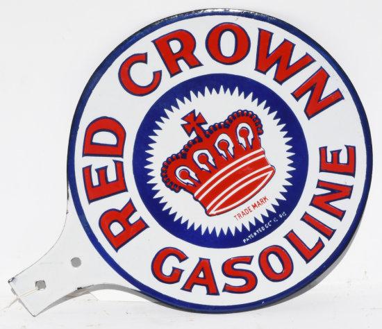 Red Crown Gasoline Porcelain Paddle Sign