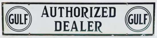 Gulf Authorized Dealer Horizontal Porcelain Sign