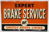 Grizzly Brake Lining Expert Brake Service Tin Sign