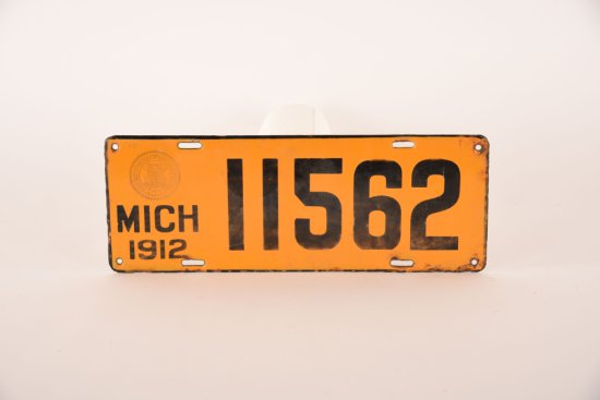Michigan 1912 Porcelain License Plate