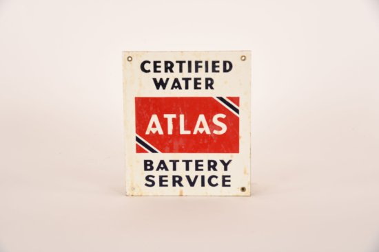 Atlas Certified Water Battery Service Porcelain Sign