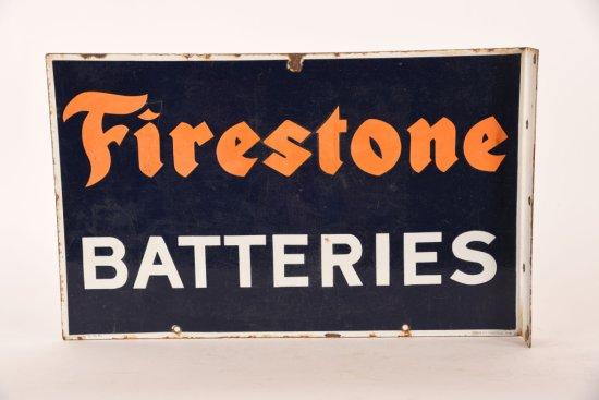 Firestone Batteries Porcelain Flange Sign