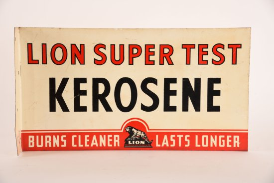Lion Super Test Kerosene Tin Flange Sign