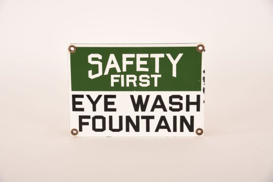 Safety First Eye Wash Fountain Porcelain Sign