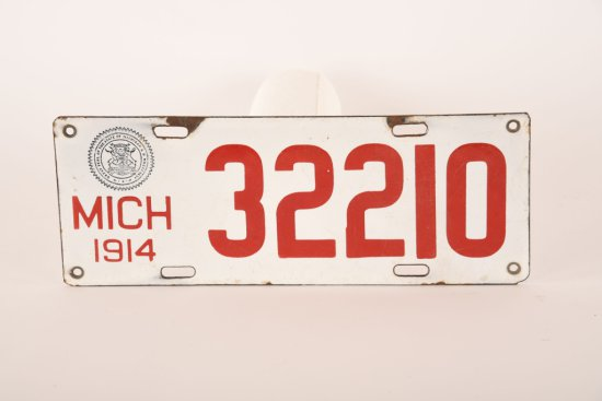 Michigan 1914 Porcelain License Plate