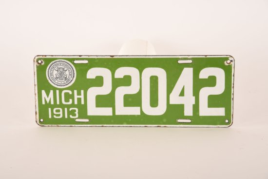 Michigan 1913 Porcelain License Plate