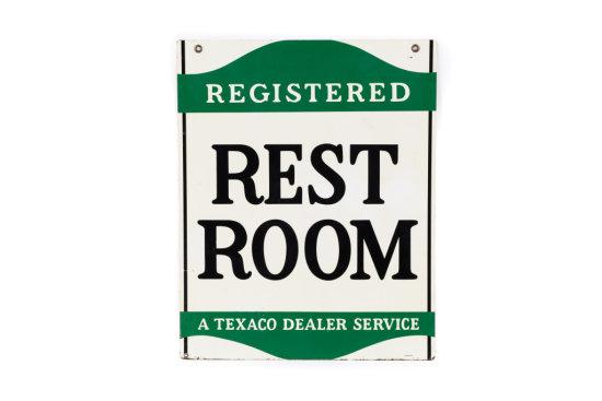 Texaco Registered Restrooms Tin Sign