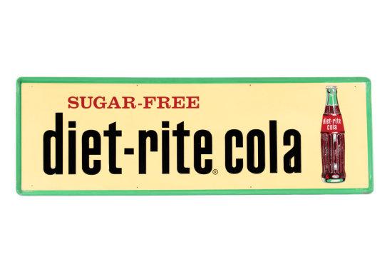 Sugar Free Diet-Rite Cola Horizontal Tin Sign