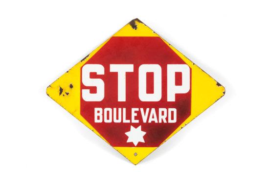 Stop Boulevard Porcelain Traffic Sign