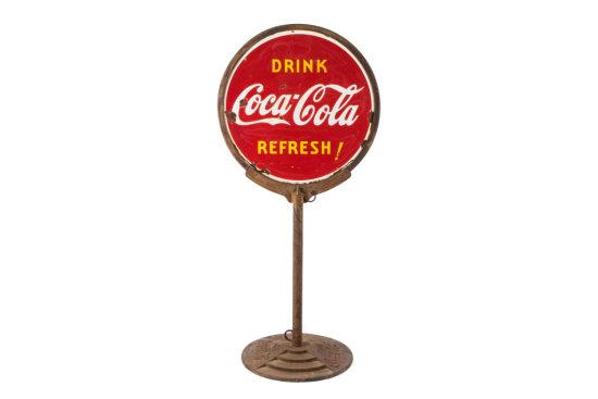 Drink Coca-Cola Refresh! Porcelain Curb Sign