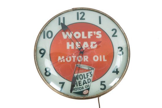 Wolf's Head Motor Oil Lighted Pam Clock