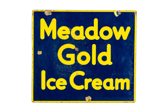 Meadow Gold Ice Cream Porcelain Sign