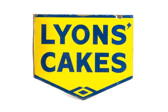 Lyons' Cakes Porcelain Flange Sign