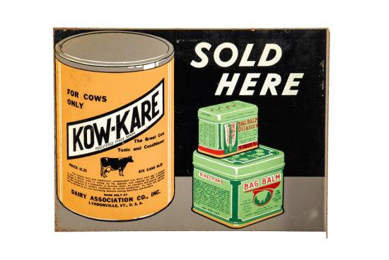 Kow-Kare Bag Balm Sold Here Tin Flange Sign
