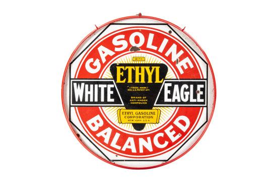 White Eagle Ethyl Balanced Gasoline Porcelain Sign
