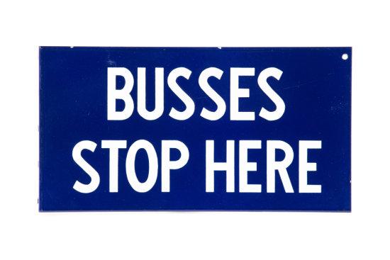 Busses Stop Here Porcelain Flange Sign