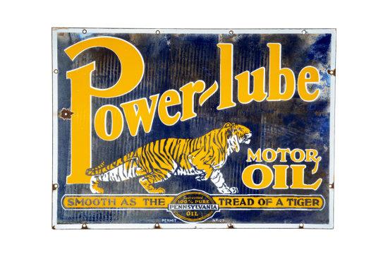 Power-Lube Motor Oil Porcelain Sign