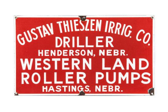 Western Land Roller Pumps Porcelain Sign