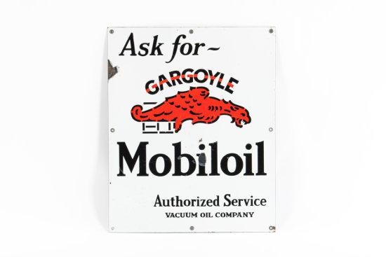 Ask For Mobiloil Gargoyle Porcelain Cabinet Sign