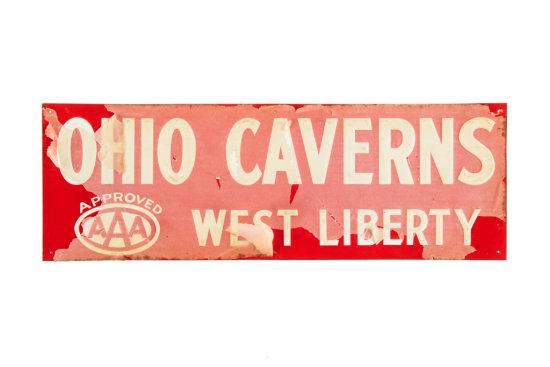 Ohio Caverns AAA West Liberty Tin Sign NOS