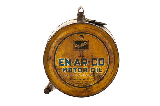 En-ar-co Motor Oil W/boy & Slate Logo Metal Five Gallon Rocker Can