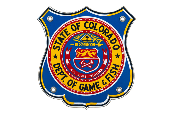 State Of Colorado Game & Fish Porcelain Sign