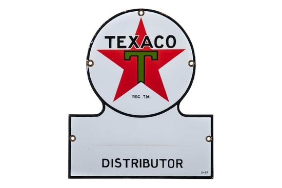 Texaco Distributor Keyhole Porcelain Sign