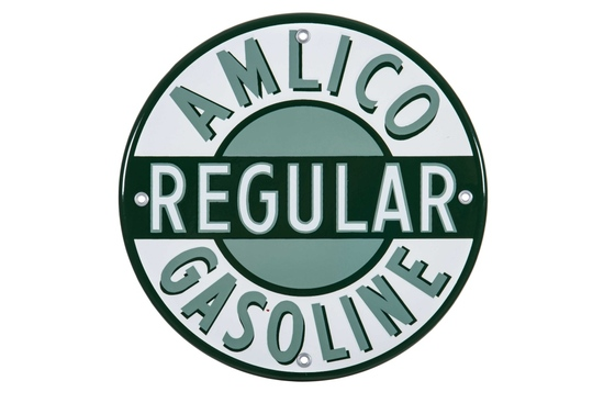 Amlico Regular Gasoline Porcelain Pump Plate