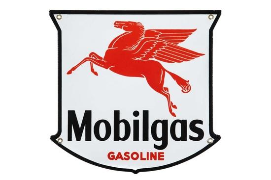 Mobilgas Gasoline Porcelain Pump Plate West Coast
