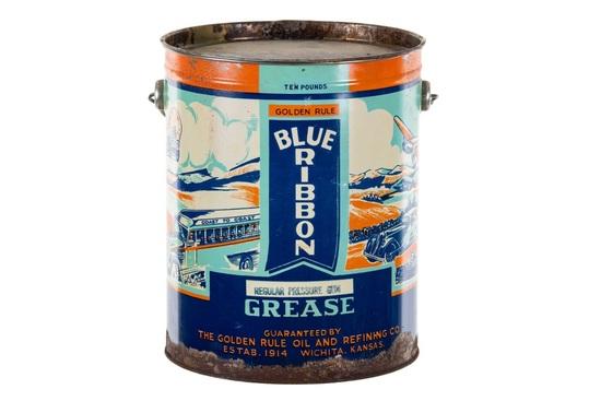 Rare Blue Ribbon Grease Can