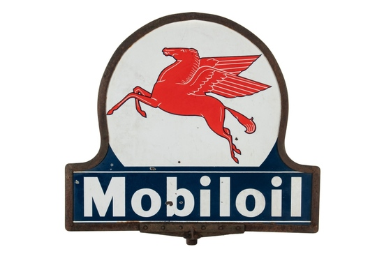 Mobiloil Keyhole Porcelain Curb Sign