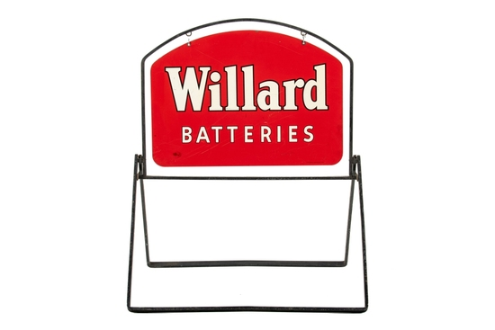Willard Batteries Curb Sign With Frame