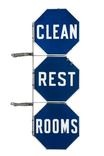 Pure Oil Clean Restrooms Porcelain Sign