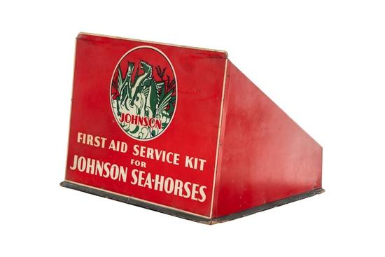 Johnson Sea Horse Service Tin Display.