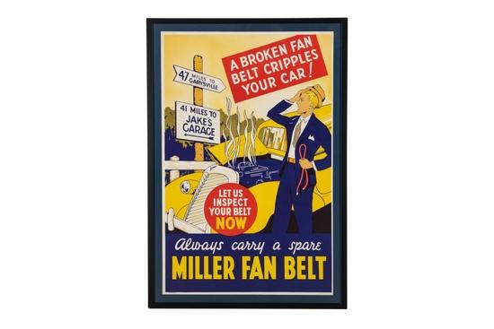 Miller Fan Belts Framed Advertisement