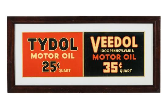 Tydol Veedol Motor Oil Framed Tin Signs