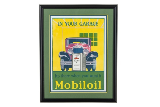 Early Framed Mobiloil Advertisement