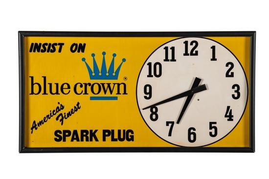 Blue Crown Spark Plug Tin Clock