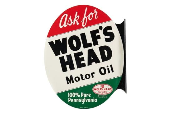 Wolf's Head Motor Oil Tin Flange Sign